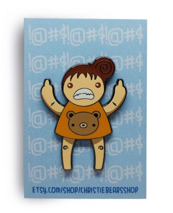 Eff You Girl Orange Original Angry Edition Hard Enamel Pin by ChristieBear