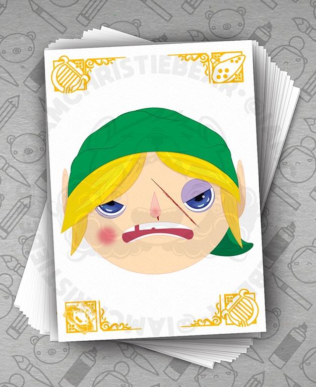 Legend Of Zelda Links Awakening Beat Up Fighter Portrait Print By ChristieBear