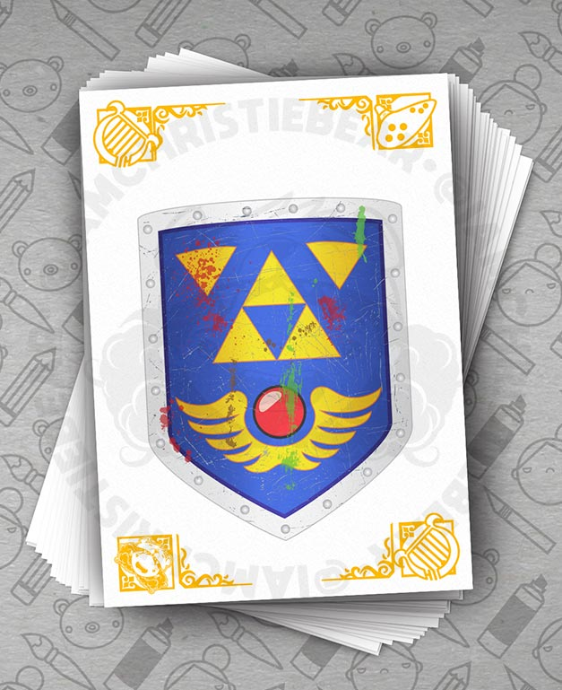 Legend Of Zelda Links Awakening Damaged Shield Print By ChristieBear
