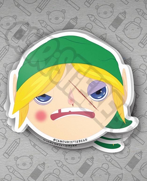 Link Beat Up Legend of Zelda Sticker by ChristieBear