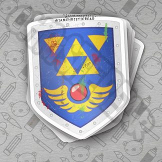 Link Beat Up Shield Legend of Zelda Sticker by ChristieBear