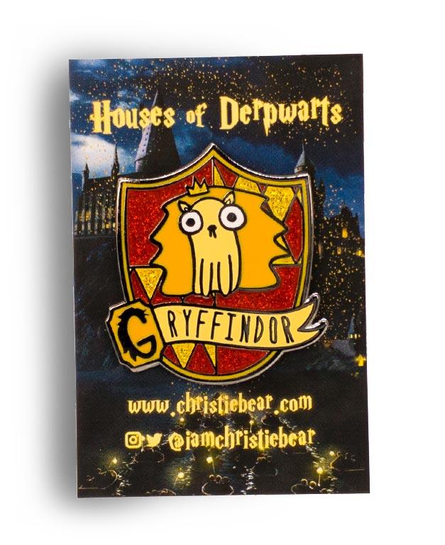 House of Derpwarts Gryffindor Glitter hard enamel pin by ChristieBear