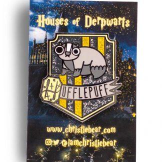 House of Derpwarts Hufflepuff Glitter hard enamel pin by ChristieBear