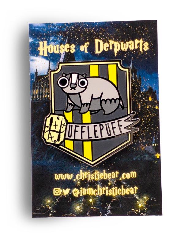 House of Derpwarts Hufflepuff hard enamel pin by ChristieBear