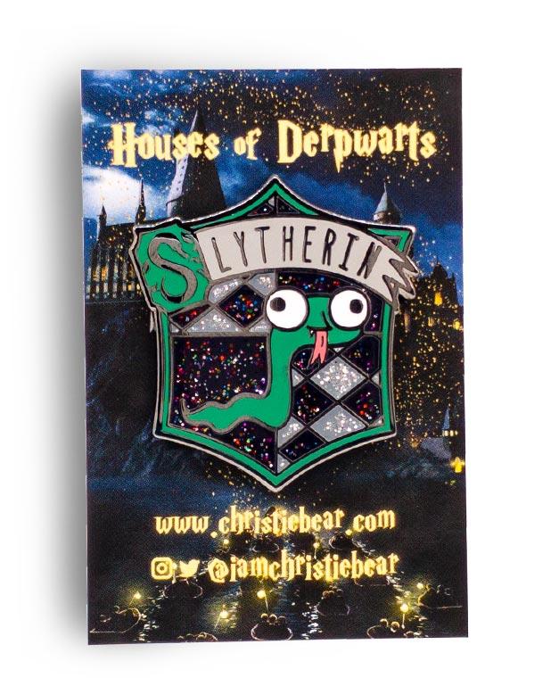 House of Derpwarts Slyhterin Glitter hard enamel pin by ChristieBear