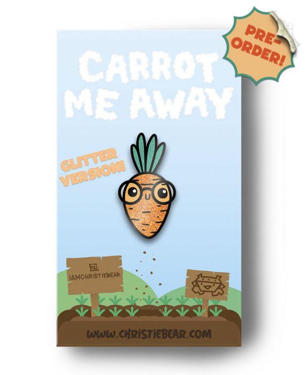 Carrot Me Away Glitter Enamel Pin by ChristieBear